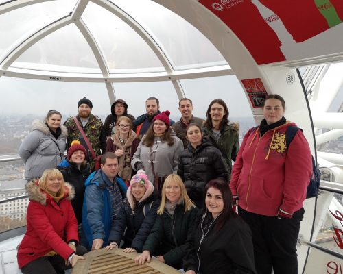 Talent Match group of young people pose on London Eye