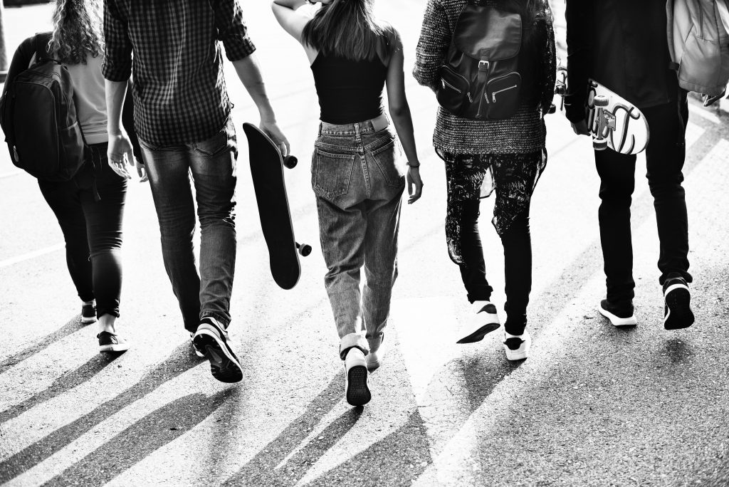 Group of Prince's Trust young people walking