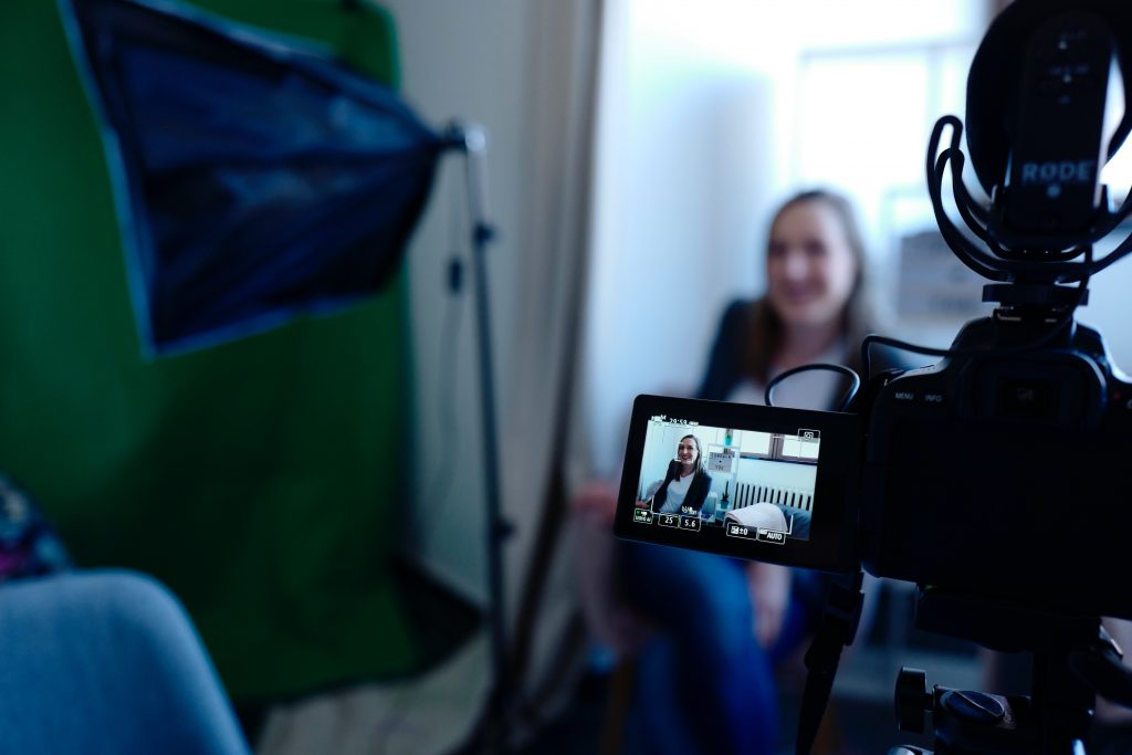 Woman being filmed for Working Heads video CV
